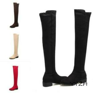 Womens Casual Suede Leather Flat Over The Knee Thigh High Boots Pull On Shoes