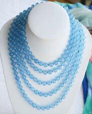 "Fashion 10mm round blue jade bead necklace 50"""