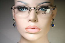 Unworn Rimless FENDI VL7313 Black and Dark Chrome Oval Eyeglasses Glasses Frames