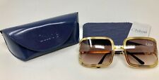 NEW Chloe 79S Gold Metal Frame Sunglasses with Brown Fade Gradient Lens