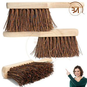 "10.5"" Wooden Hand Brush Stiff Bassine Bristle Sweeping Broom Hard Soft Coco New"