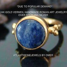 ROMAN ART GRANULATED SODALITE RING 24K YELLOW GOLD OVER STERLING SILVER BY OMER