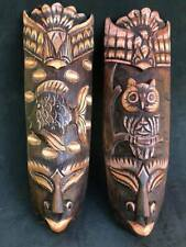 MASKS AFRICAN TRIBAL FISH OWL EAGLE WOOD HAND CARVED PAINT BALI HANG WALL SET 2p