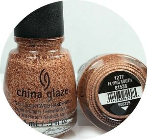 China Glaze Nail Polish Flying South 1277 Feather Finish Glitter Topper Matte Or