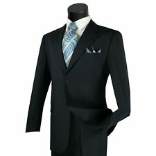 LUCCI Men's Navy Blue 2 Button Classic Fit Poplin Polyester Suit NEW