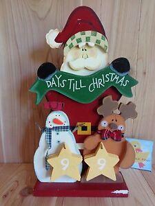 "Christmas Countdown Figurine Days Till Christmas Santa Snowman Reindeer 16"" Wood"
