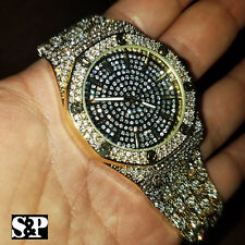 Men's Gold Plated Iced out Luxury Rapper's Metal Band Dress Clubbing wrist Watch