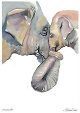 original drawing A4 414LM art by samovar watercolor elephant Signed 2020