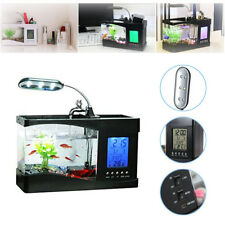 Mini USB Fish Tank LCD Desktop Lamp Light Fish Tank Aquarium LED Calendar Clock