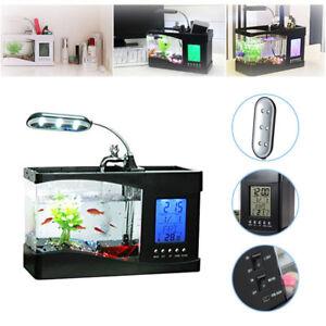 Mini USB Fish Tank LCD Desktop Lamp Light Fish Tank Aquarium LED Calendar Clock