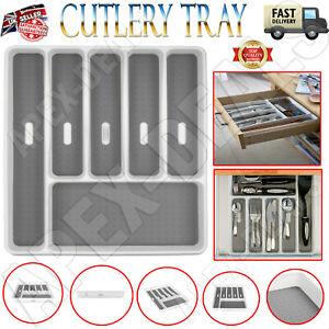 Plastic Kitchen Cutlery Tray Organiser Rack Holder Drawer Insert Tidy Storage UK
