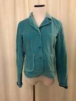 Sundance Womens Blue Jacket Blazer  Size 4 Pockets Button Front Cotton