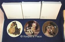 Lot Of 3 Norman Rockwell Collectors Porcelain Mini Plates Box Easels Free Ship
