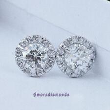 1.3 ct I VS round diamond 3 prong martini stud halo jacket earrings white gold