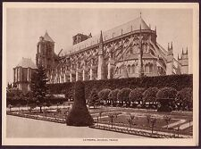 Vintage Cathedral Bourges France Gothic Architecture Photo Photogravure Print