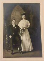 Vintage Old 1910 Wedding Photo Edwardian Bride Dress Woman Fashion Fresno CA.