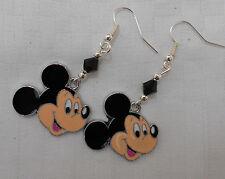 Hecho a mano Girly Pendientes Disney Mickey Mouse Cristales Chapado En Plata + Tapones