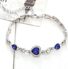 Fashion Womens Blue Crystal Rhinestone Heart Charm Bangle Bracelet Gift