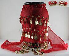 Chal de danza gitana y pulseras ROJOS Danza del vientre étnica de Oriente Medio