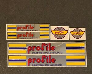 Profile Frame Decal Set - Red, Blue & Yellow on Chrome background, 6 decal set