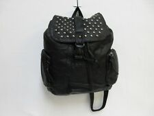 Ladies Studded Rucksack Backpack School Bag in Black Faux Leather