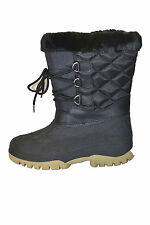 WFS Womens SUGARLOAF SNOWBOOTS WINTER shoes size 8 NEW BLACK FUR LACE UP