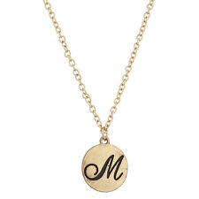 Lux Accessories Script M Initial Personalized Disc Pendant Necklace