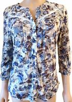 New Ex Per Una M&S Ladies Blue & Grey Floral Casual Top Size 10 - 16 3/4 Sleeve