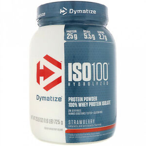 Dymatize Nutrition, ISO 100 Hydrolyzed, 100% Whey Protein Isolate, Strawberry,