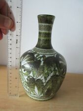 Denby Stoneware Pottery 20.5 cm VASE Green Abstract Leaves Glyn Colledge