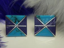 Men's Turquoise & Sugalite Hand Wrought 0.925 Sterling Silver Cuff Links