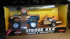 1993 HARLEY DAVIDSON STROBE 4 X4 BUDDY L REV ENGINE TRUCK & MOTORCYCLE TRAILER