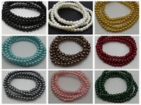 300pcs Glass Faux Pearl Smooth Round Beads 6mm Spacer Beads Color for Choice