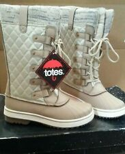 Totes Womens Waterproof Lined Snow Boots Glenda Bone Tan Size 7 Lace up Rain
