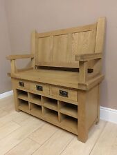 Kingsford Solid Oak Monks Bench 110cm X 1m Shoe Storage Hallway Telephone Seat