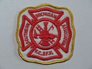 Vtg Southern Michigan Association F.C. & F.F. Fire Dept Patch Sew On Used 7831