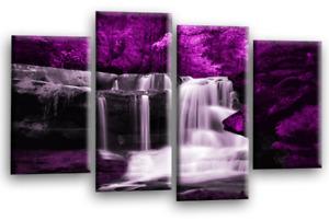 Le Reve Waterfall Landscape Wall Art Purple Grey White Canvas Forrest Split