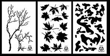 """3Pack! Spray Paint Camouflage Stencils 14""""  Gnarly Branch - Leafy Maple - Army"""