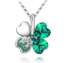 Four Leaf Clover Green Austrian Crystal Lucky Pendant Necklace St Patricks