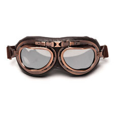 Half Helmet Steampunk Copper Motorcycle Goggle Vintage Pilot Dirt Bike Googles