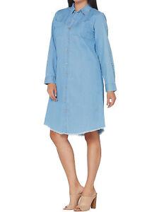 JOAN RIVERS Size 12P Petite Length Lightweight Denim Dress w/ Fringe Hem CHAM...