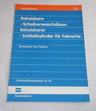 SSP 96 Selbststudienprogramm Audi 80 B3 Waschdüsen / Schließzylinder St.1987