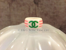 AUTHENTIC CHANEL RING BAND PINK/GREEN/WHITE GOLD STAMP '04 MADE IN FRANCE SIZE 6