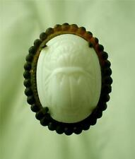 FORMIDABLE MILKGLASS WHITE SCARAB HATPIN
