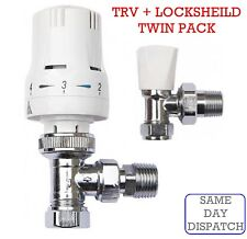 "Thermostatic Radiator Valve Set 15mm x 1/2"" TRV Lockshield Valves *TWIN PACK*"