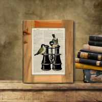 Antique Book page Art Print - Vintage Birds & Binoculars Dictionary print