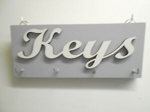 Key Holder, Grey, with Keys sign in white painted mdf.