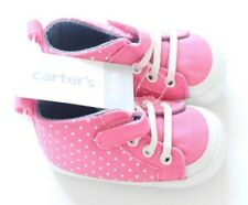 New Carter's Infant Girl Pink w/ White Polka Dots Sneakers Shoes size 6-9 months