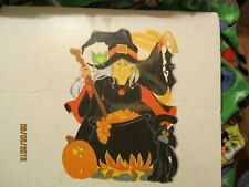 Double Sided Witch Bat Cat Jack-O-Lantern Die Cut Out Made by Eureka USA