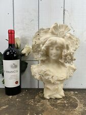 Antique Adolfo Cipriani Signed Alabaster Bust of a Victorian Woman With Bonnet